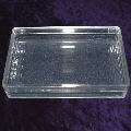 A clear plastic card box with lid for 57mm wide bridge cards
