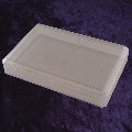 A clear plastic card box with lid for 2 packs of 63mm wide sized cards