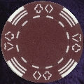 Burgundy Four tab poker chip 11.5gm