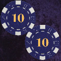 Blue Dice Chip 11.5gm Numbered 10 Double Sided