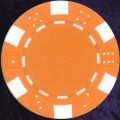 Orange six tab dice design heavy chip 11.5gm