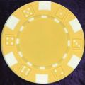 Yellow six tab dice design heavy chip 11.5gm