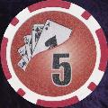 Red Twist 11.5gm Poker Chips Numbered 5