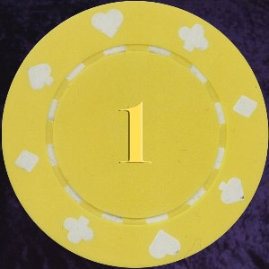 Yellow Card Suit chip 11.5gm Numbered 1