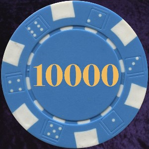 Light Blue Dice Chip Numbered 10000